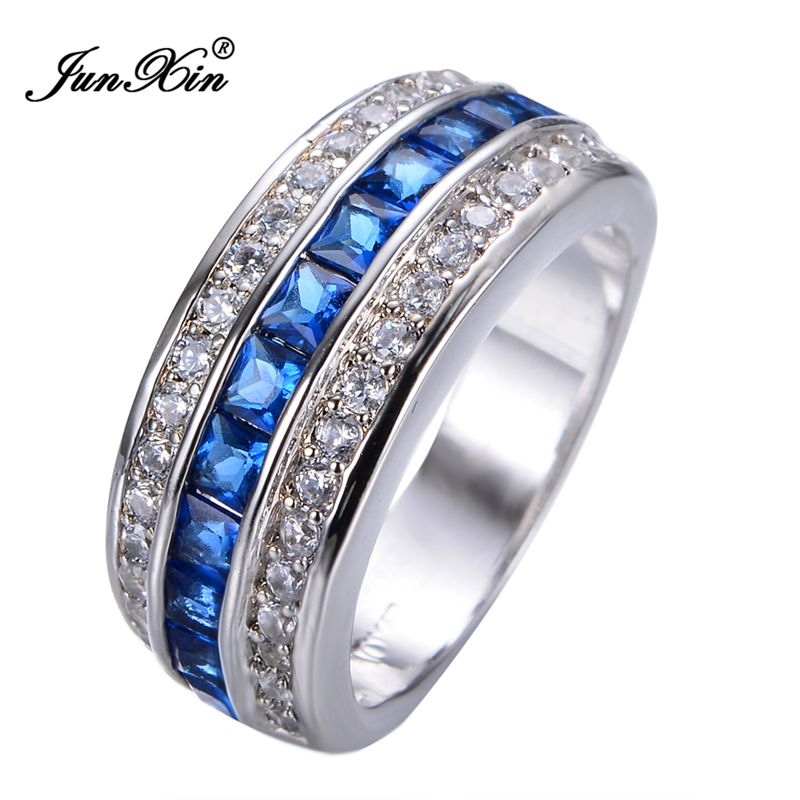 JUNXIN Gorgeous Male Female Blue Ring White Gold Filled Fashion