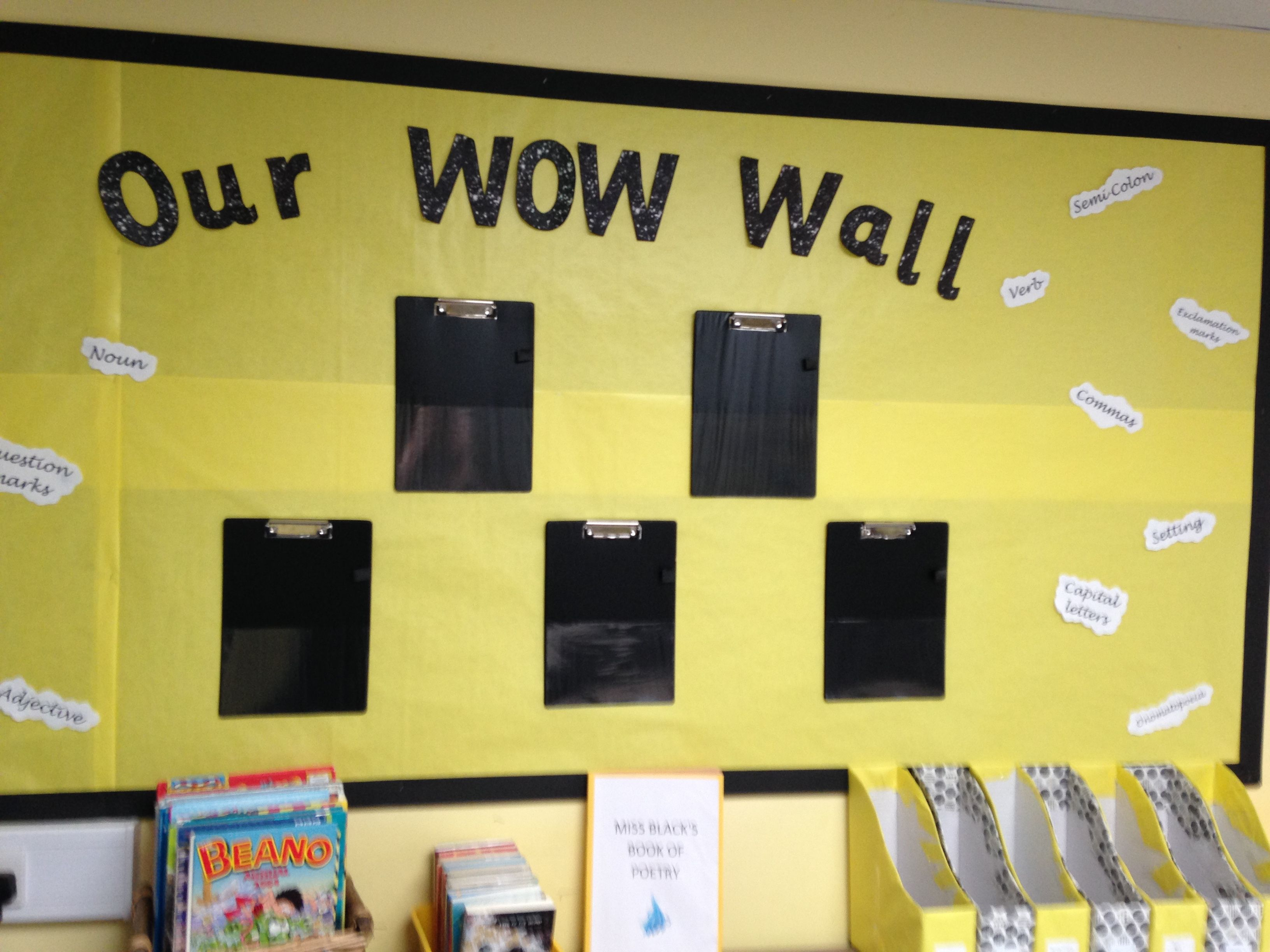 This is our Literacy display. 5 children gets selected each week to ...