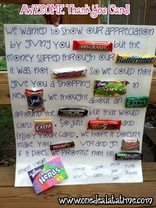 Awesome Candy Thank You Card Fathers Day Gift Idea Mylitter