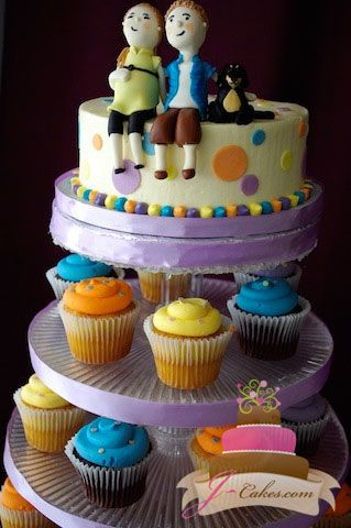 (217) Baby Shower Cupcake Tower with Fondant Figurines
