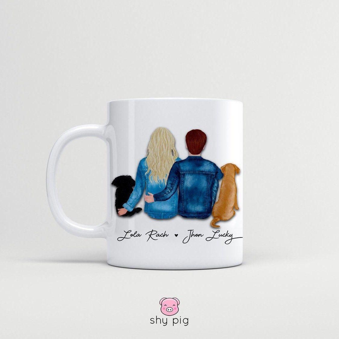 Personalised couple mug customised couple and dog mug