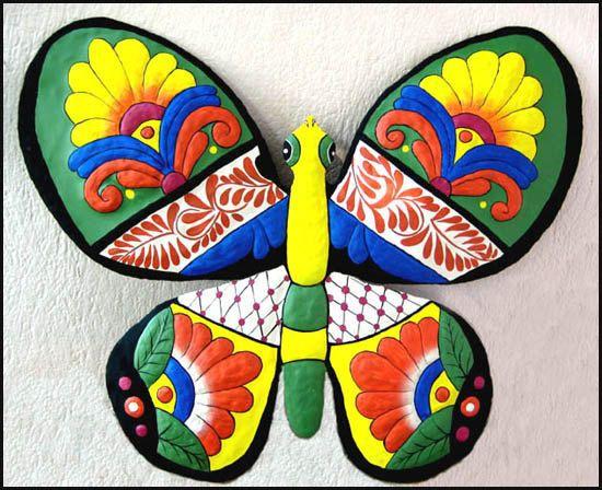 Butterfly Metal Wall Art - Hand Painted Metal Art ...