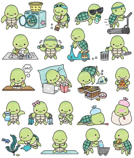 Premium Vector Clipart Kawaii Turtle Cute Sea Turtle Planning