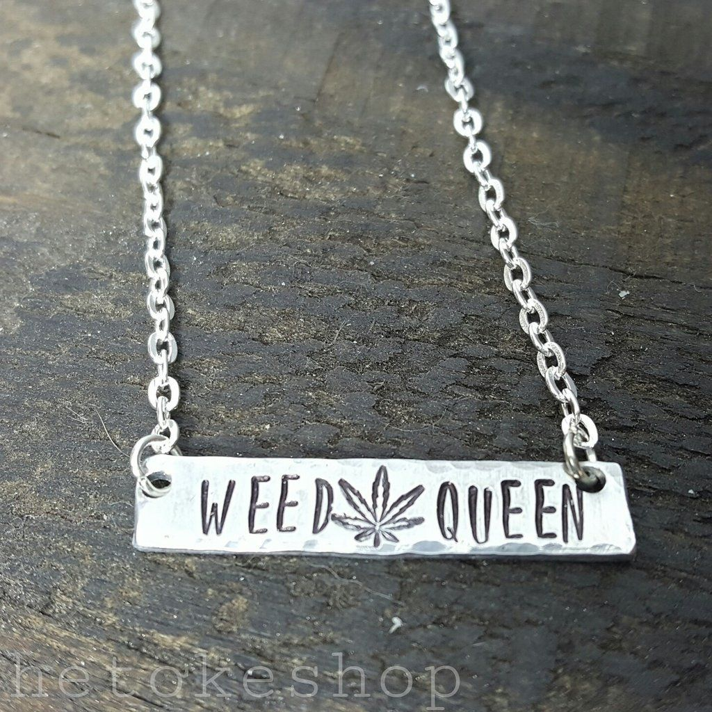 Weed Queen Hand Stamped Aluminum Bar Necklace by The Toke Shop, weed kween, weed jewelry, cannabis, marijuana, $15