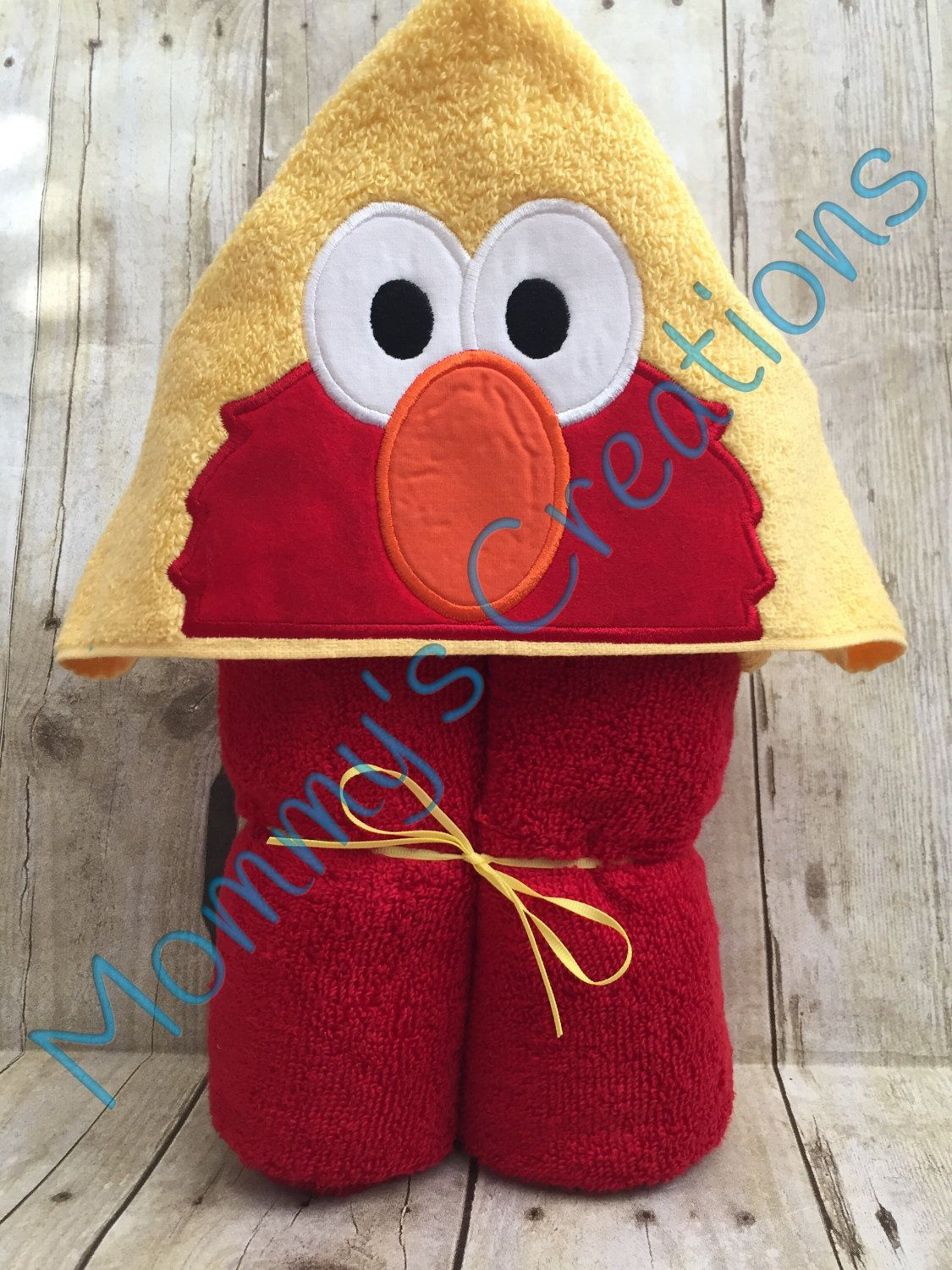 "Red Furry Monster Peeker Applique Hooded Bath, Beach Towel 30"" x 54"" by MommysCraftCreations on Etsy"