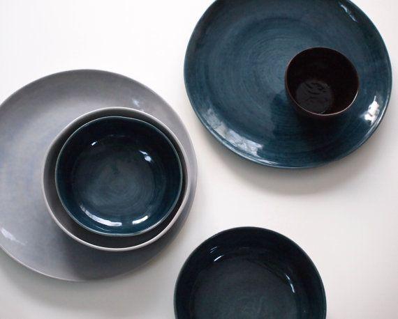 Steinzeug Geschirr steinzeug geschirr set in blau braun geschirrmanufaktur auf etsy