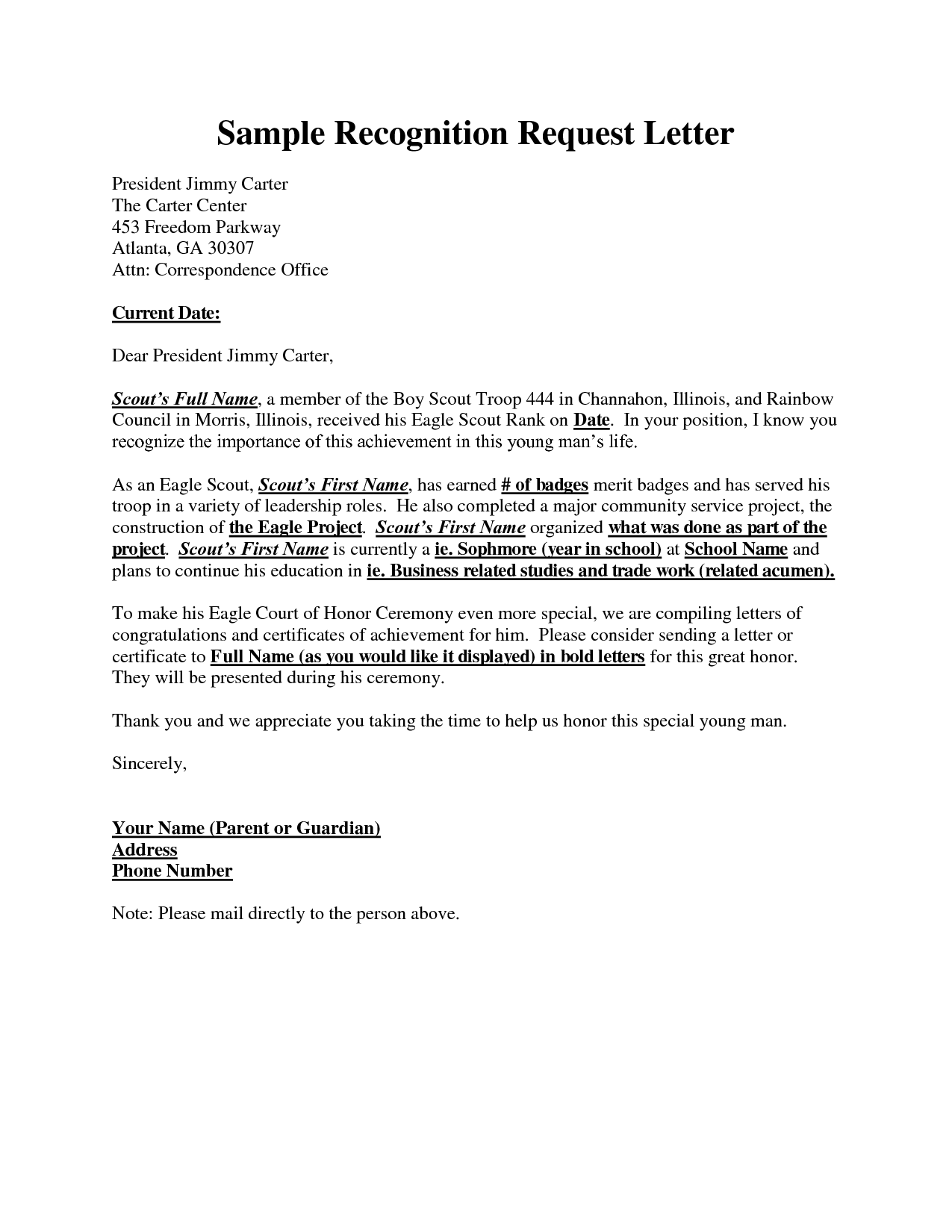 Example Recognition Request Letter