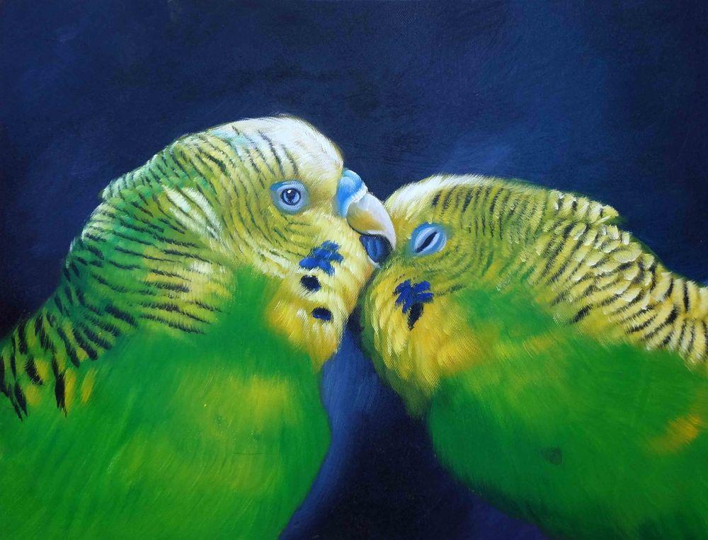 Parakeet Parrot Conure Love Bird Eclectus Macaw Bird Hawaii Jungle Art Painting