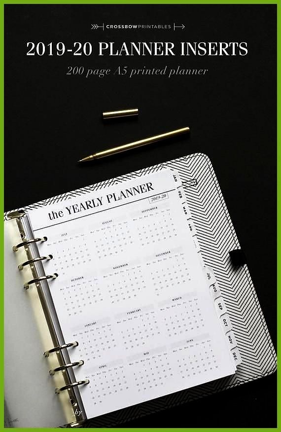 Planner Inserts A5 Printed Planner Refill Academic Planner Dated Mid Year Planner Filofax A5 Refills LV GM Agenda Refill by CrossbowPrintabl 20192020 Planner Inserts A5 P...