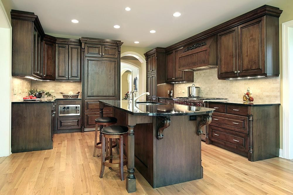 Black Walnut Cabinets What Color Hardwood Floor With Dark Cabinets And Island Black Classic Kitchen Design Traditional Kitchen Cabinets Walnut Kitchen Cabinets