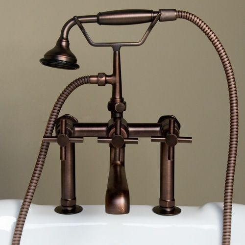 Contemporary Deck Mount Tub Faucet With Hand Shower Cross