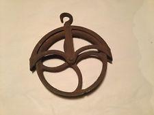 Vtg Hay Barn Wheel Well Pulley Cast Iron ~ Industrial Steampunk Primitive decor