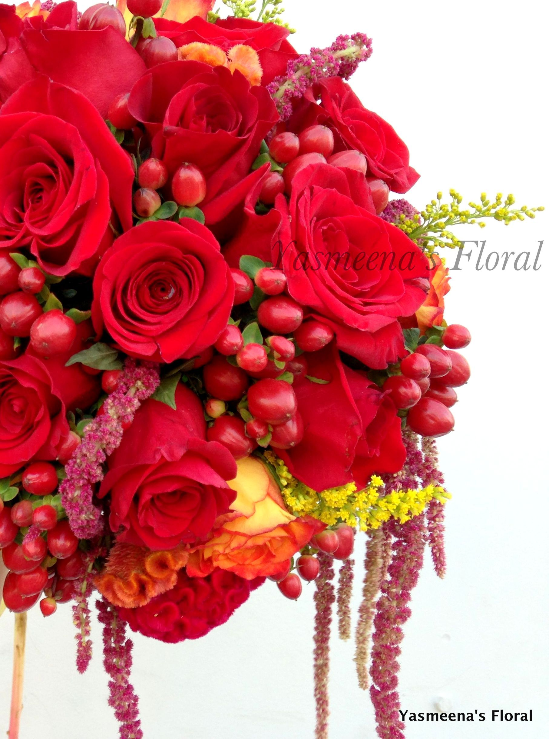 Yasmeenas floral beautiful fall color bridal bouquet red hanging flower boutique yasmeenas floral beautiful fall izmirmasajfo Image collections