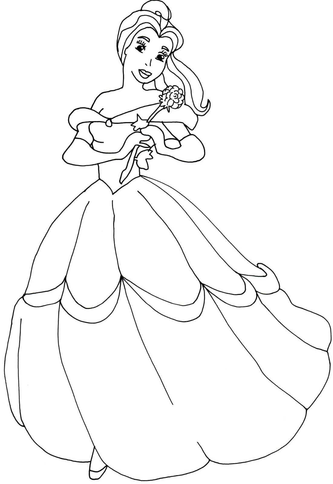 Princess Coloring Pages Belle For Coloring Class