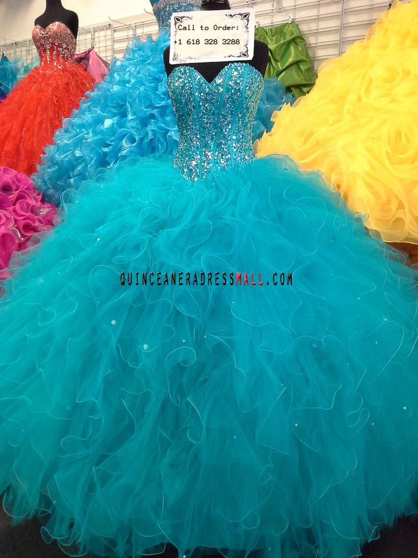 New 2014 mint green sparkling beading crystal ruffled new sweet 15 ...