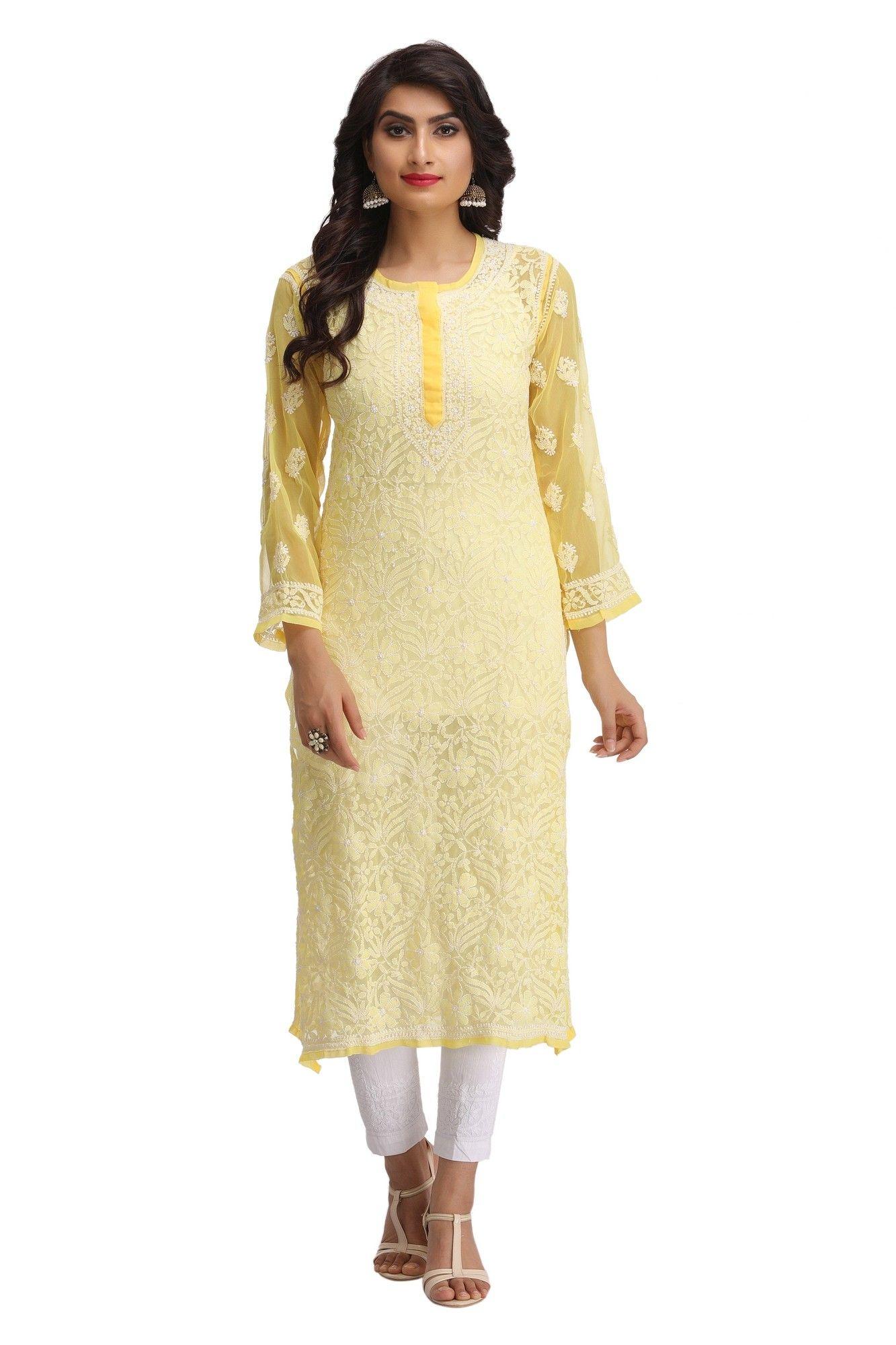 ad76d392a4d Ada Hand Embroidered Yellow Faux Georgette Lucknowi Chikankari Kurti -  A187448 - Chikan Kurtis - Women Chikan Wear