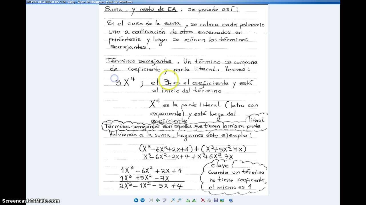 Video Numero 53 Expresiones Algebraicas Expresiones
