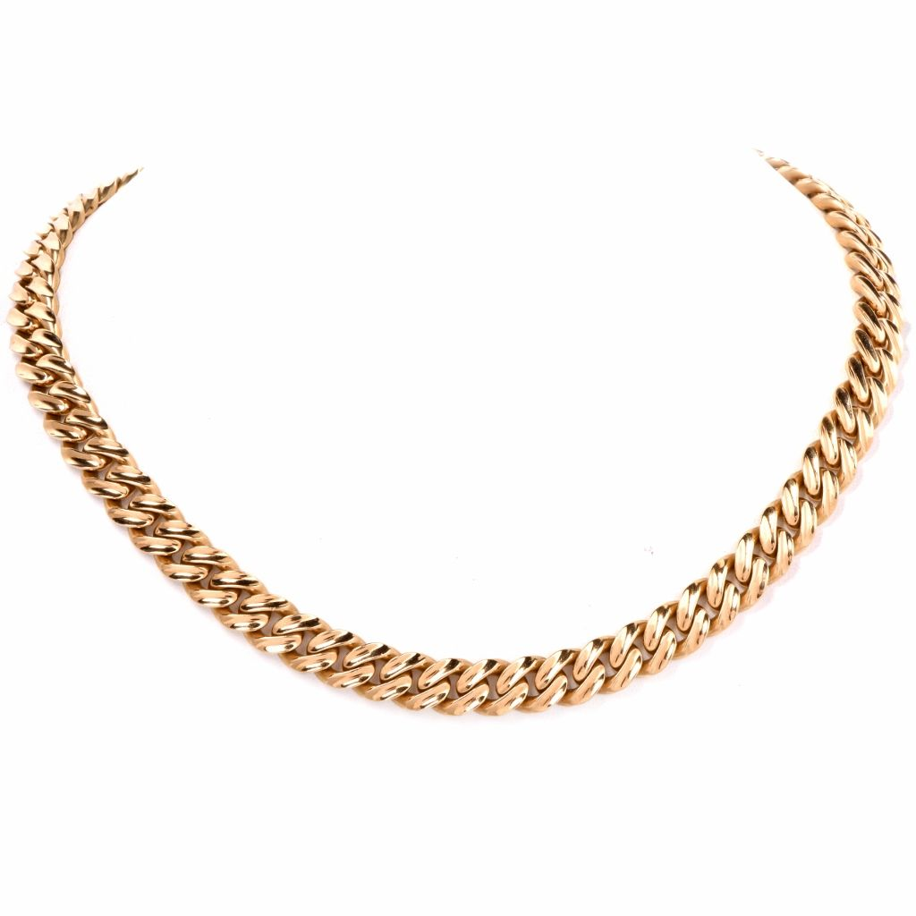 Italian Heavy Cuban Curb Link 18k Gold Choker Chain Necklace Dover Jewelry Gold Chain Choker Chain Choker Necklace Gold Choker