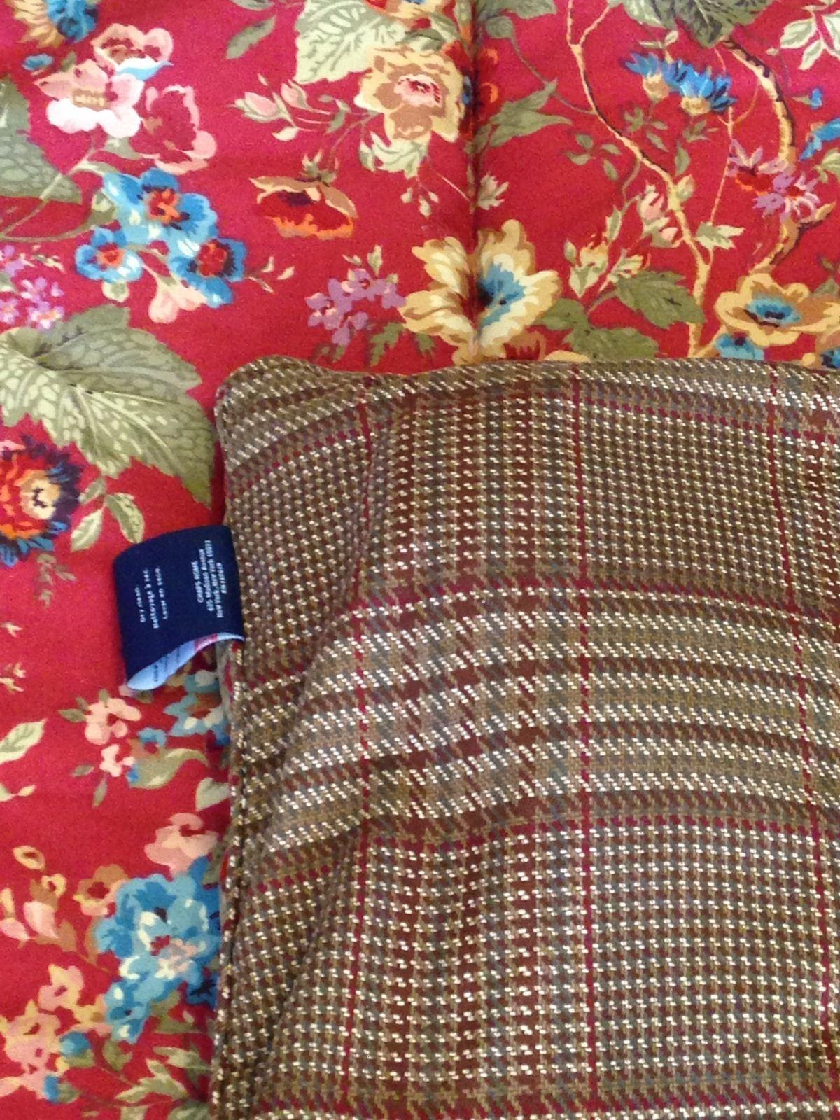 Ralph Lauren Comforter Queen Summerton Reversible Floral Houndstooth Brown  Plaid