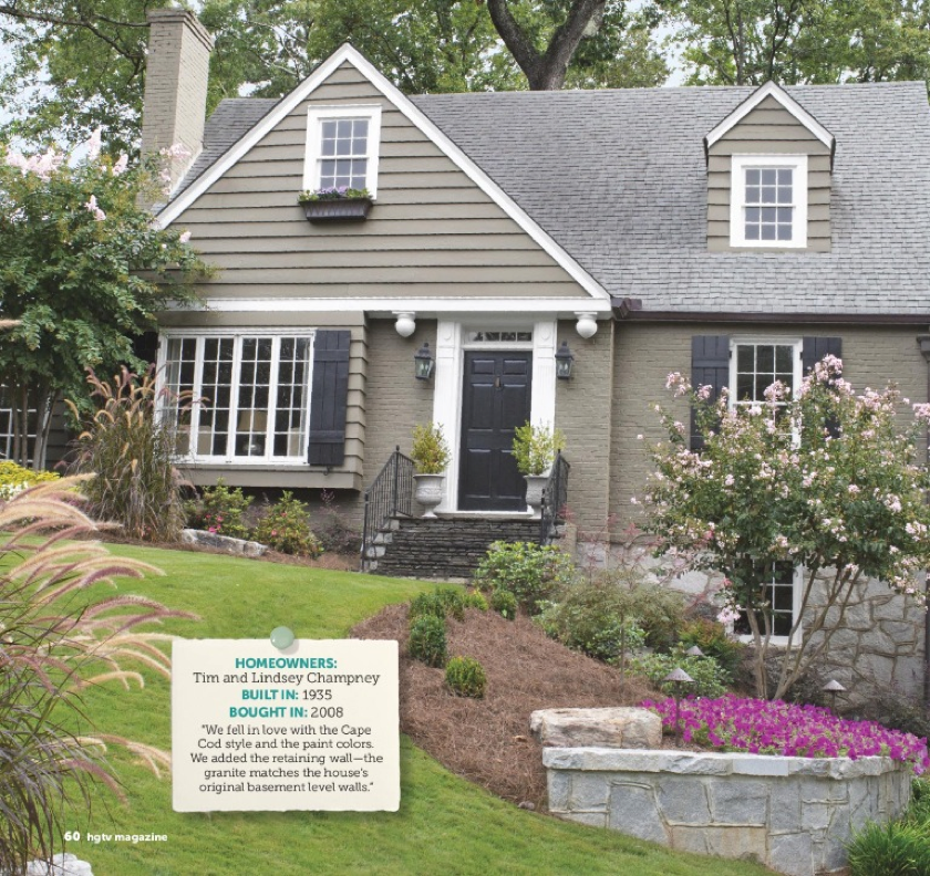Small Ranch Home Exterior Design: Grey Cottage, Dark Trim Via HGTV Mag Different House Color