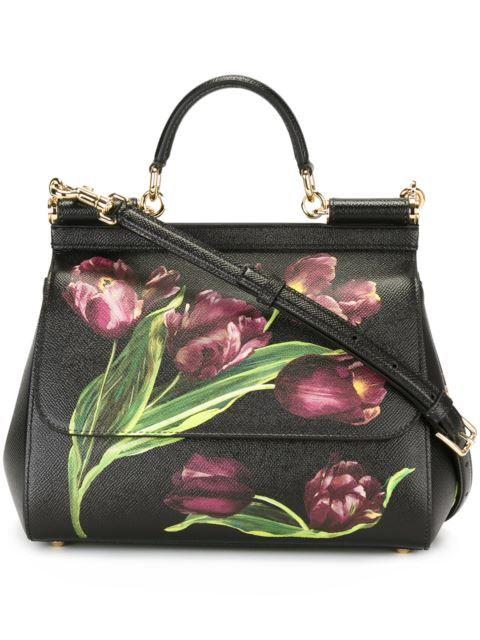 Shop Dolce & Gabbana tulip print 'Sicily' tote.