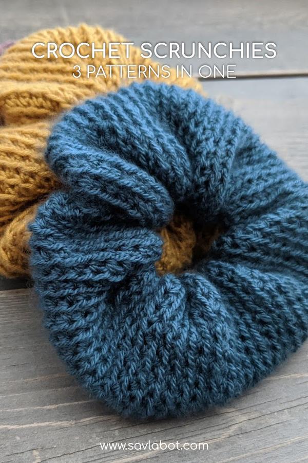 3 in 1 Crochet Scrunchies Pattern – Savlabot #crochetscrunchies