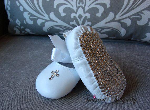 Infant White Swarovski Crystal Shoe with Cross/Baptism/Christening/Photoshoot/Keepsake on Etsy, $85.00