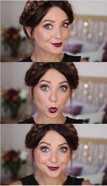 Zoella fall makeup tutorial with berry lip and gold smokey eye