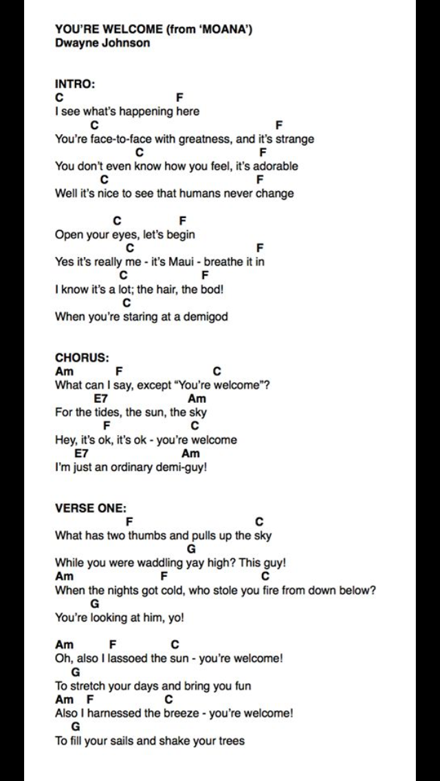 You\'re Welcome (Part One) | Ukelele | Pinterest | Sheet music