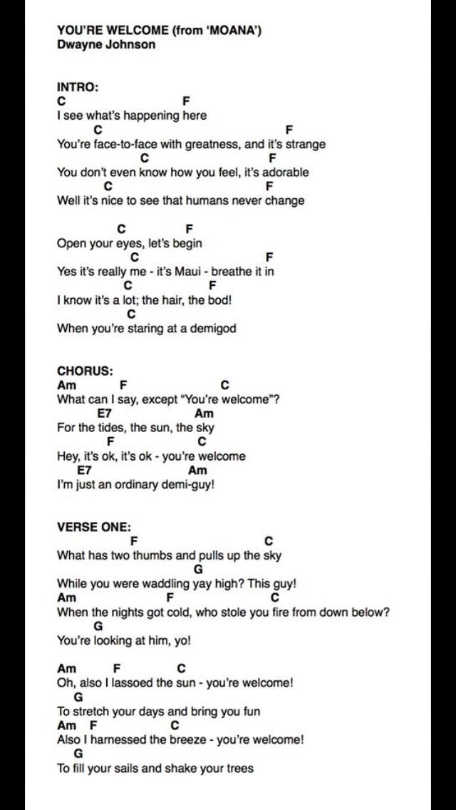 You Re Welcome Ukulele Chords : welcome, ukulele, chords, Welcome, Ukulele, Strumming, Pattern