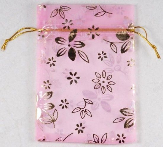 100pc Pink Sheer Organza Voile Pouch Wedding Gift Bag