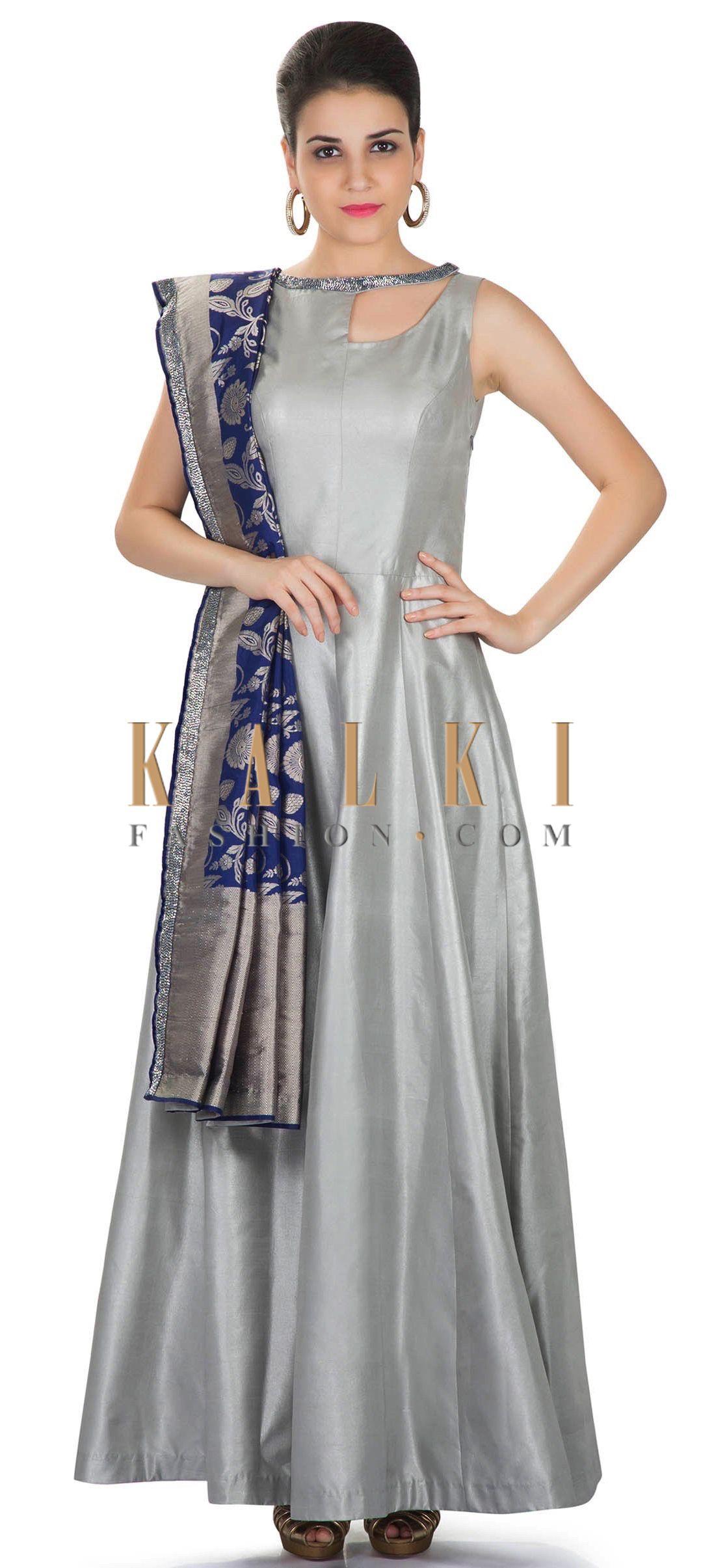 70bfd0e3fef0b Silver Foil Dupion Silk Gown with Navy Blue Banarasi Dupatta Only on Kalki