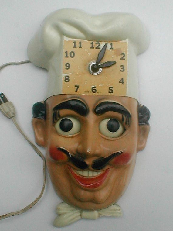 Chef Wall Clock Vintage 50s Herold Products Clock For