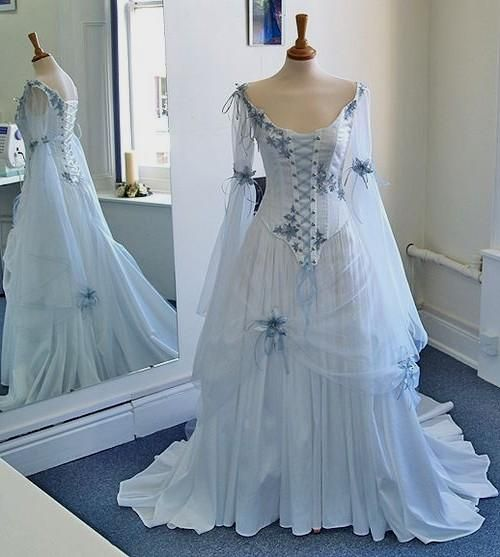 Vintage Celtic Wedding Dresses White And Pale Blue Colorful Medieval Bridal Gowns Scoop Neckline Corset L Celtic Wedding Dress Bridal Gowns A Line Bridal Gowns