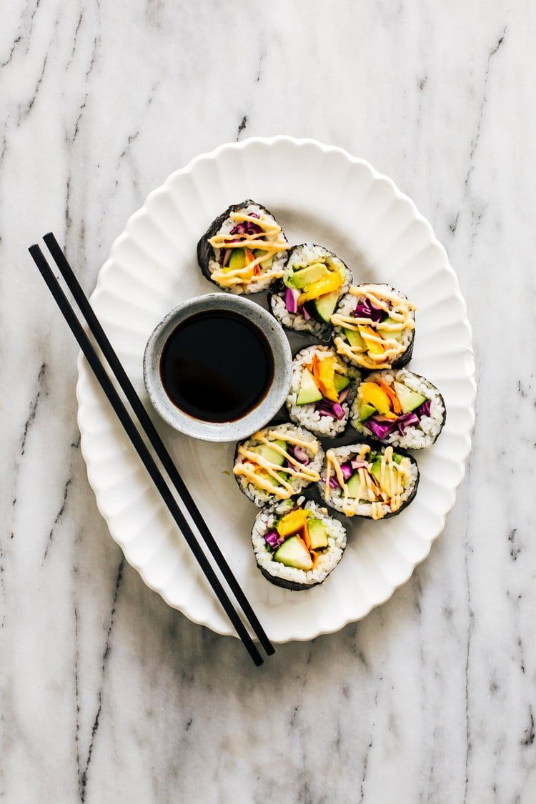 Colorful veggie sushi roll and spicy mayo recipe