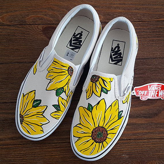 Custom Sunflower Vans Slip On Shoes | Vans slip on shoes