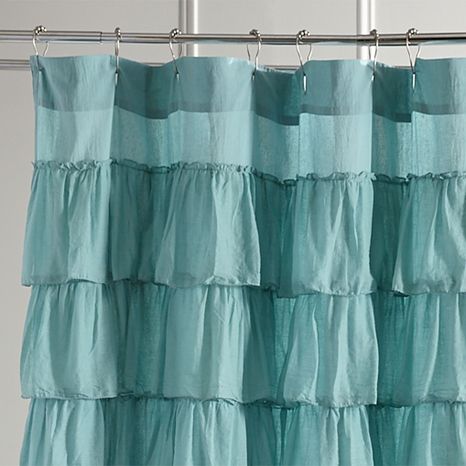 Ruffled turquoise shower curtain parlour