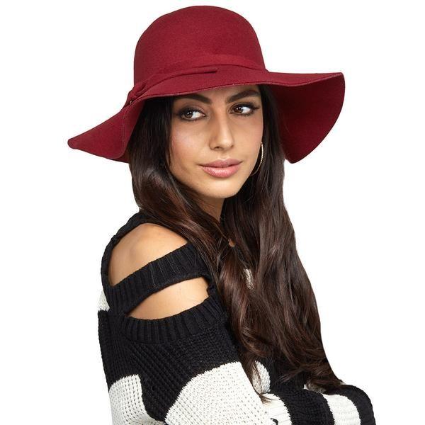 Burgundy Wide-Brim Felt Floppy Hat - Citi Trends Accessories - Front