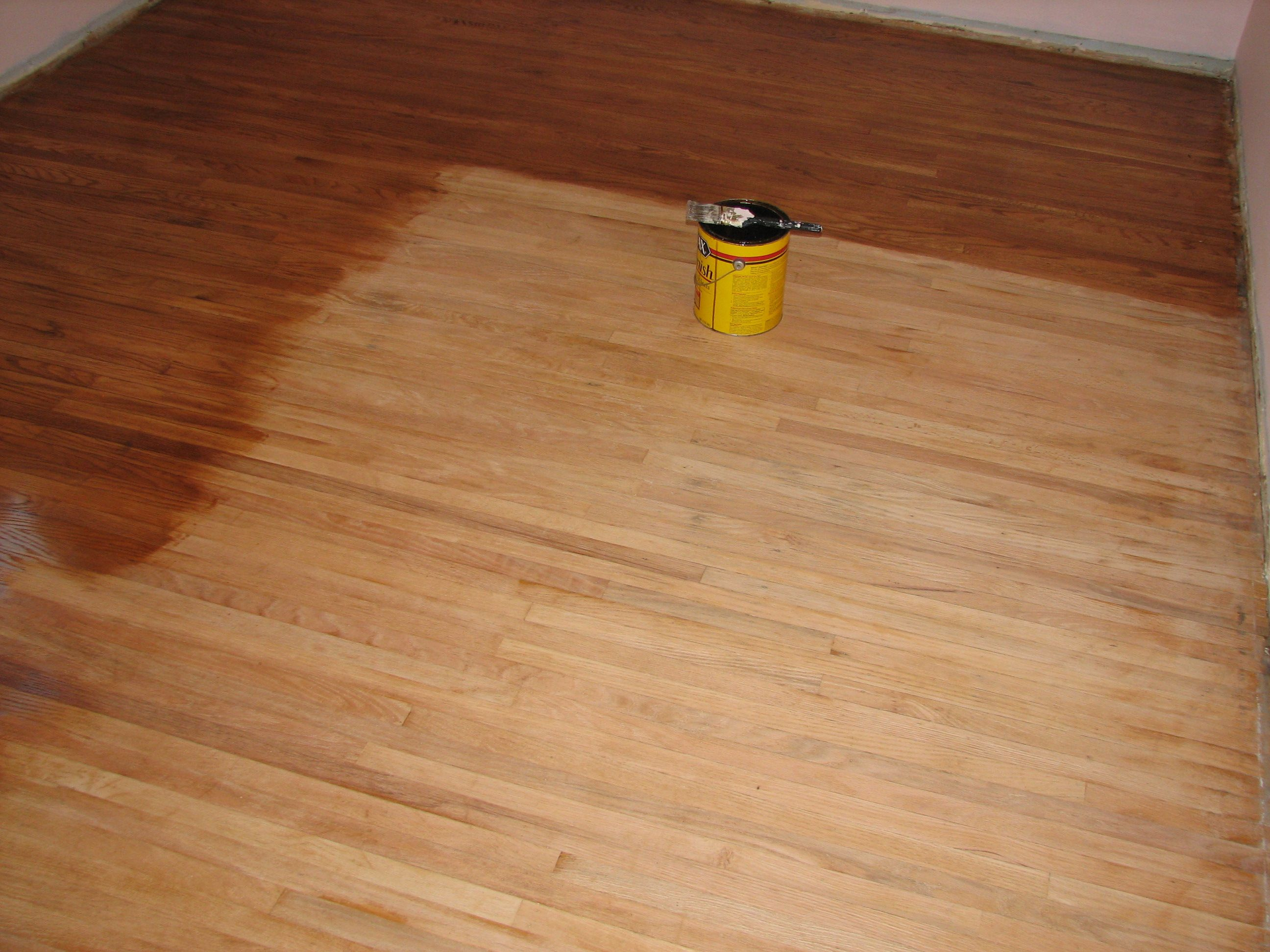 After The Sanding Adding The Golden Oak Stain Floors