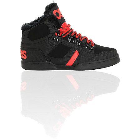 55a3b86a494 Osiris NYC 83 Black, Red & Shearling Shoes   Osiris Shoes   Shoes ...