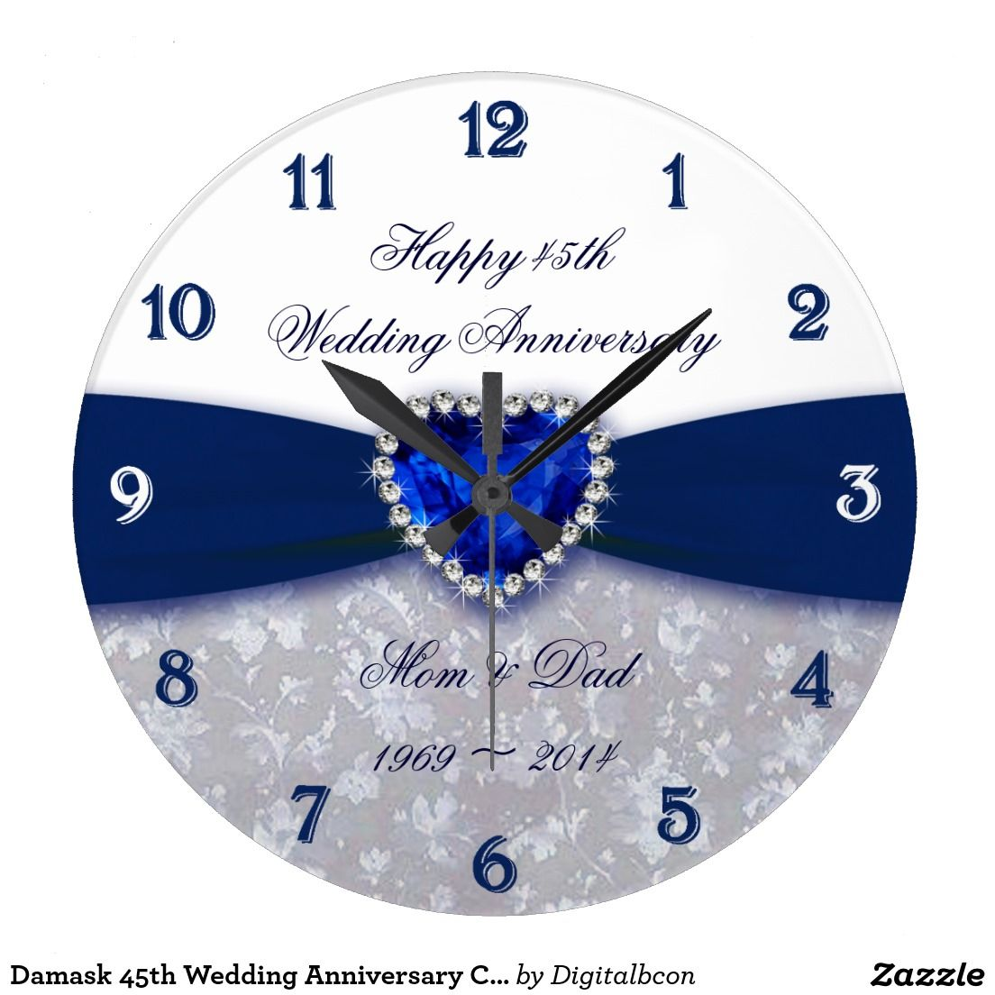 Traditional 45th Wedding Anniversary Gift: Damask 45th Wedding Anniversary Clock