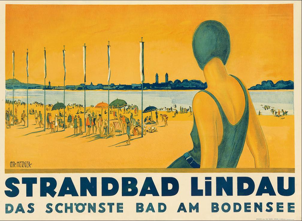 CHARLES METZGER Beach Lindau, Bodensee (c.1930)
