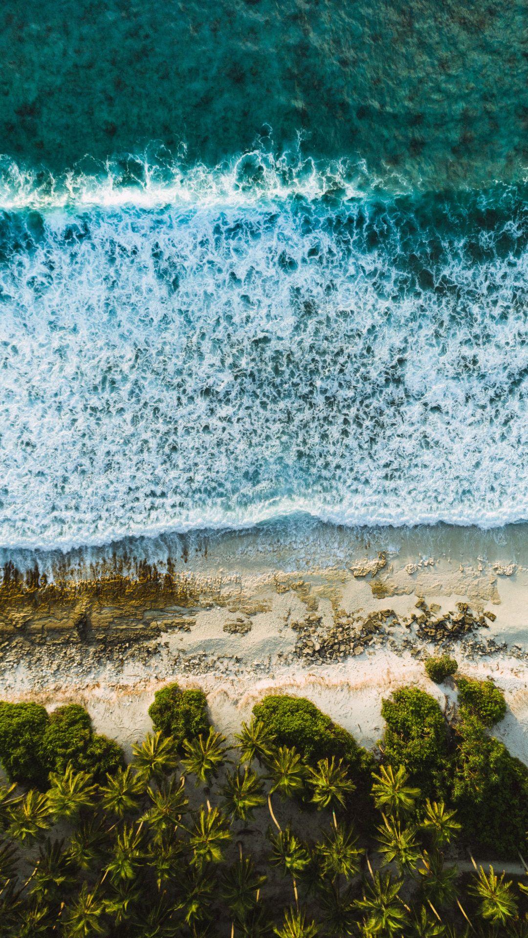 Maldives Coast Tree Sea Waves Aerial View Nature Wallpaper Aerial View Nature Wallpaper Cloud