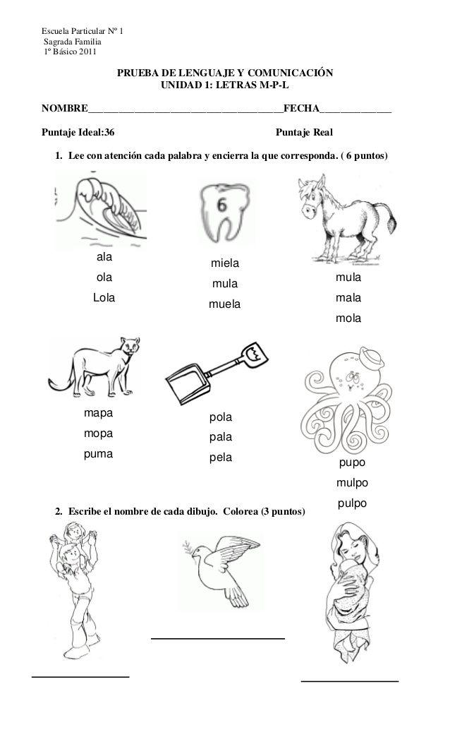Escuela Particular Nº 1Sagrada Familia1º Básico 2011 PRUEBA DE ...