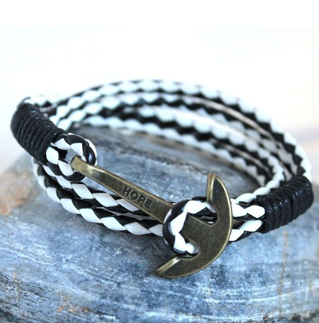 New Arrival Pu Leather Bracelet Men Anchor Bracelets For Women Best Friend Gift Fashion Jewelry White And Black Ab