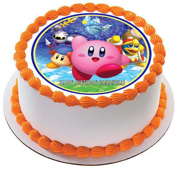 Kirby birthday cake topper