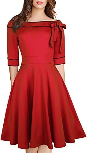 Amazing offer on Women's Casual Off Shoulder Pocket Bowknot Rockabilly Swing Vintage Cocktail Party Dress 188 online - Newclothingtrendy #cocktailpartydresses