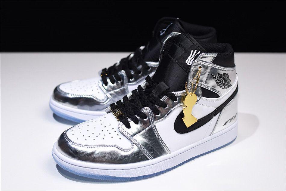 "4b589e585980e Air Jordan 1 High ""Pass The Torch"" Chrome White-Turbo Green-Black AQ7476-016"