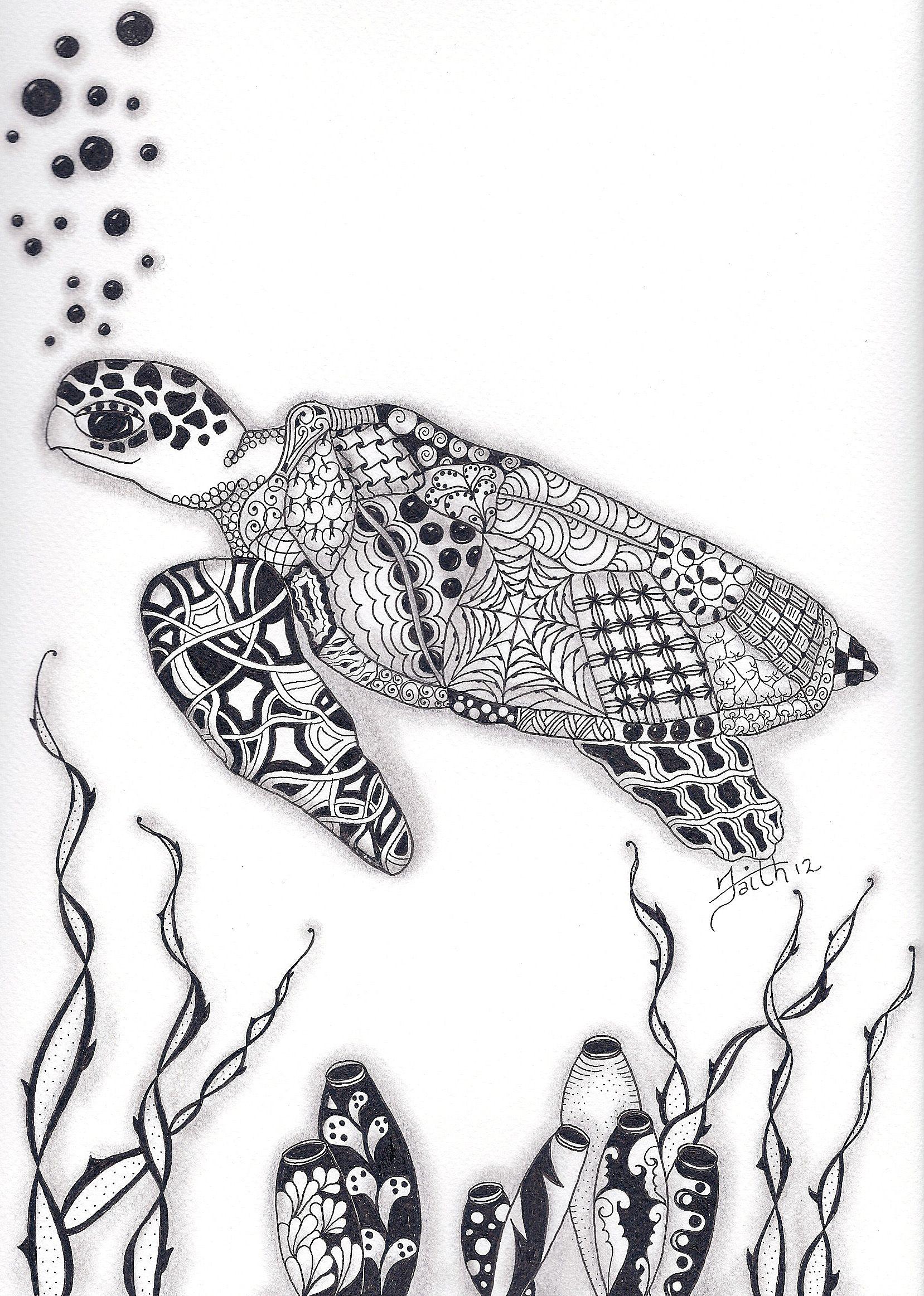 Zentangle sea life patterns   Zentangled Sea Turtle   Mermaids ...