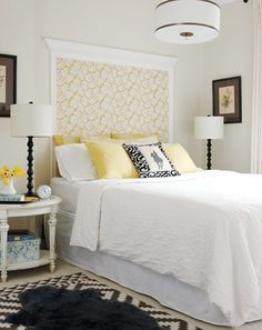 I M Loving This Alternative Headboard Idea All You Need Is Some Decorative Moulding And Feature Wallpaper Beautiful